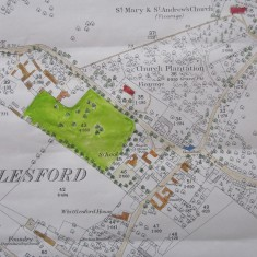 Map of Whittlesford in 1885, with Camping Close shaded in green.