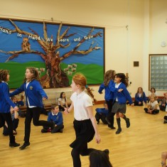 Millfield Primary school pupils rehearsing for their big performance.