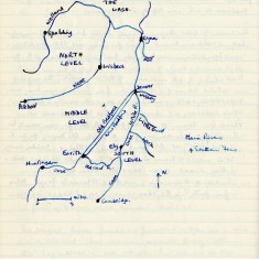 Hand-drawn map showing villages in the North and South Level