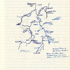Hand-drawn map showing rivers near Ely