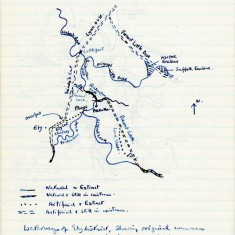 Hand-drawn map of waterways around Ely, showing their original courses