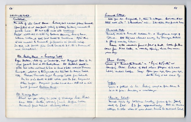 Enid Porter's notebook: page about Whittlesford