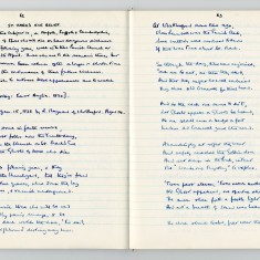Enid Porter's notebook: handwritten page from notebook showing poem about St Marks Eve ghost prank