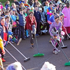 Children performed a dance with brooms at Ramsey Plough Monday celebrations