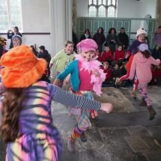 Swaffham Prior school children Molly dancing for Plough Wednesday