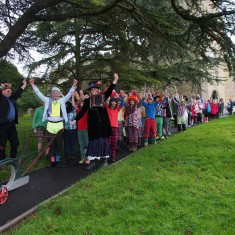 The procession leaves the church to return to school