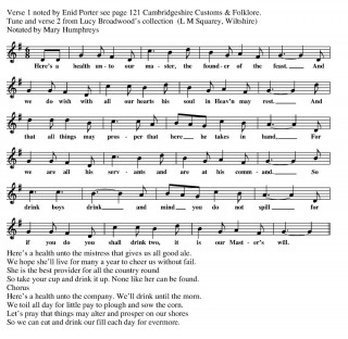 Whittlesford horkey Song music script