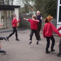 """Gordon in action teaching the dance """"Mucky Porter"""""""