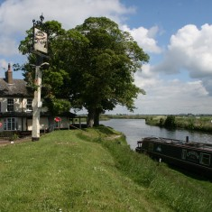 The Ship Inn where The Rivers Great Ouse (to the left) and Little Ouse (to the right) meet.