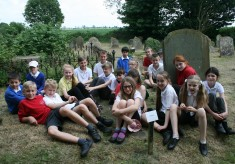 Children from the Enid Porter Project visited Tom Hickathrift's Grave